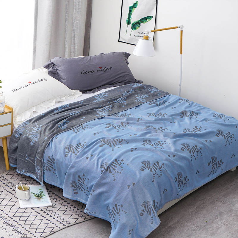 Хлопковое муслиновое летнее одеяло для кровати, дивана, дышащего стиля, мягкое одеяло для пикника, путешествий - Цвет: H