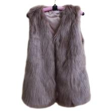 2015 Black Faux Fur Vest Plus Size S -6XL White Fake fur gilet  Women Fur Sleeveless Vest & Jacket Casacos Femininos Womens Coat