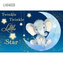 Laeacco Elephant Baby Shower Photography Background Customized Stars Moon Kids Portrait Photographic Backdrops For Photo Studio