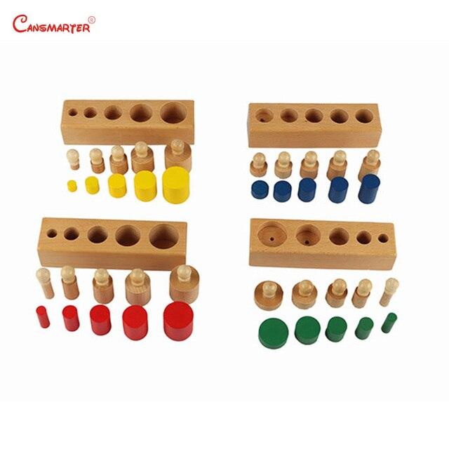 Montessori cilindro juguetes bloques de Color pomo Sensoriall bebé juego niño cerebro desarrollar niños juguetes educativos de madera SE002-JZ