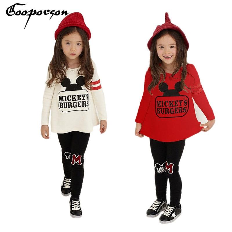 Обувь для девочек Костюмы комплект с принтом Микки длинный рукав рубашка Леггинсы Брюки для девочек Детский спортивный костюм для девочек ... ...
