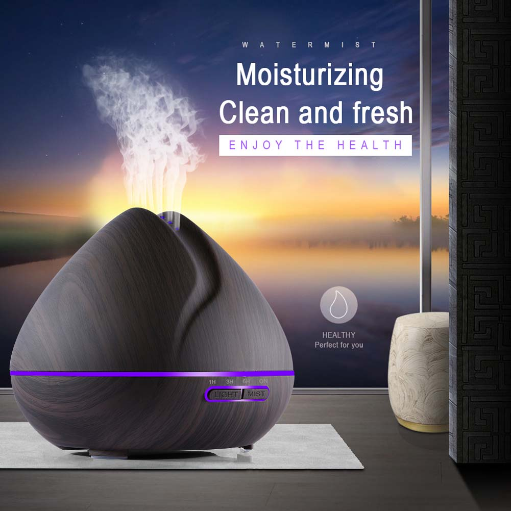 Fashion 550ML Essential Oil Diffuser Ultrasonic Air Humidifier Wood Grain 7 Colors Change for Office Home HY99 JY23 цена
