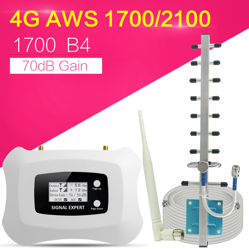 Best Smart Signal Amplifier 4G LTE 1700MHz 70dB Smart Booster 4G Network Mobile Signal Booster Cellular Signal Repeater For Home