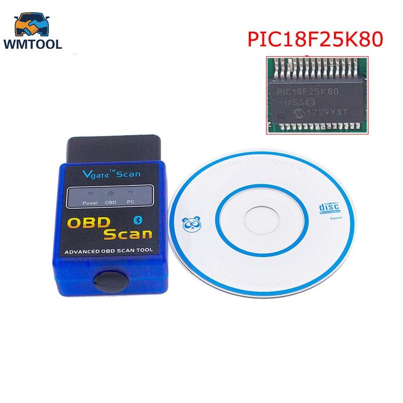 2018 OBD2 Scan ELM327 Bluetooth V1.5 PIC18F25K80 Puce OBD OBDII Code Scanner Outil De Diagnostic Pour Tous Les Protocoles OBD2