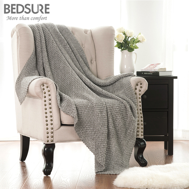 Bedsure Knitted Throw Blanket 100% Acrylic Soft Couch Cover Cozy Sofa Knit  Blankets Heather Grey