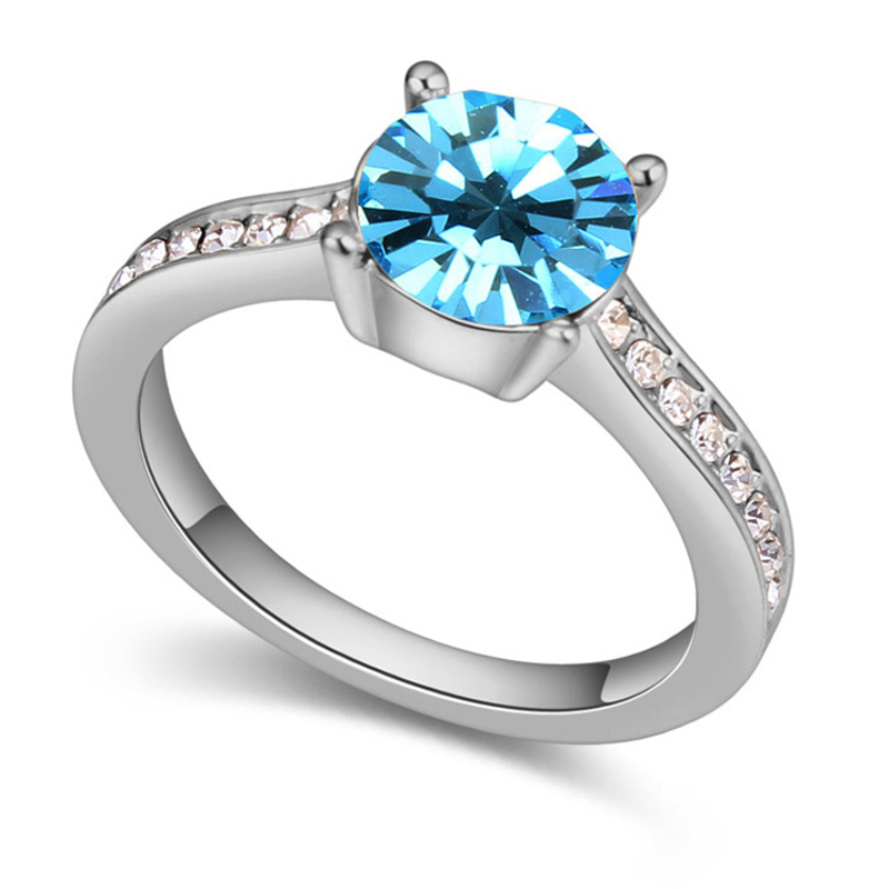 Simple Engagement Ring Cheap Rings For Women Blue Austrian Crystal Couple Wed