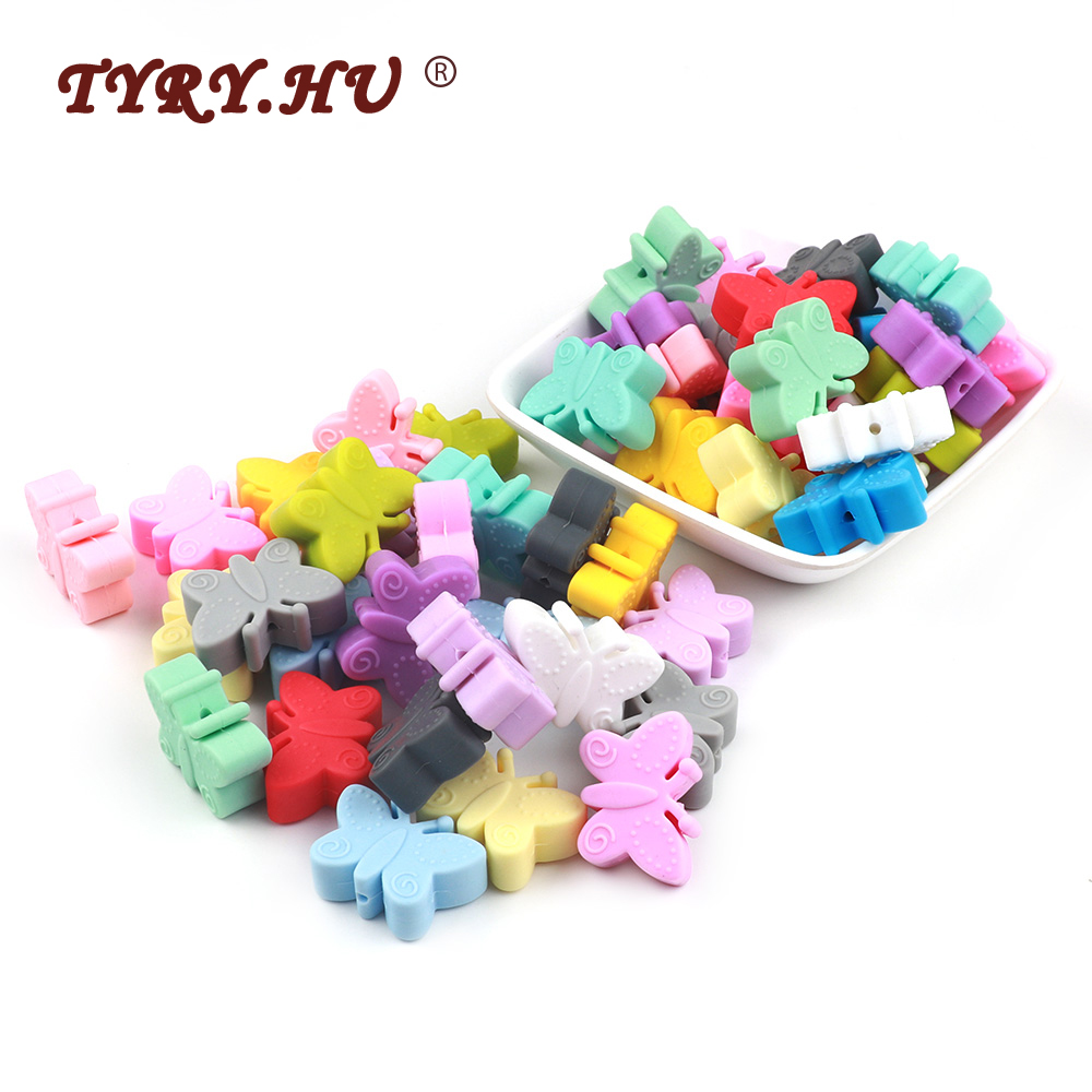 TYRY.HU 20Pc Cartoon Silicone Bead Food Grade Butterfly Bead DIY Baby Teething Necklace Toys Teether Pacifier Chain Accessories