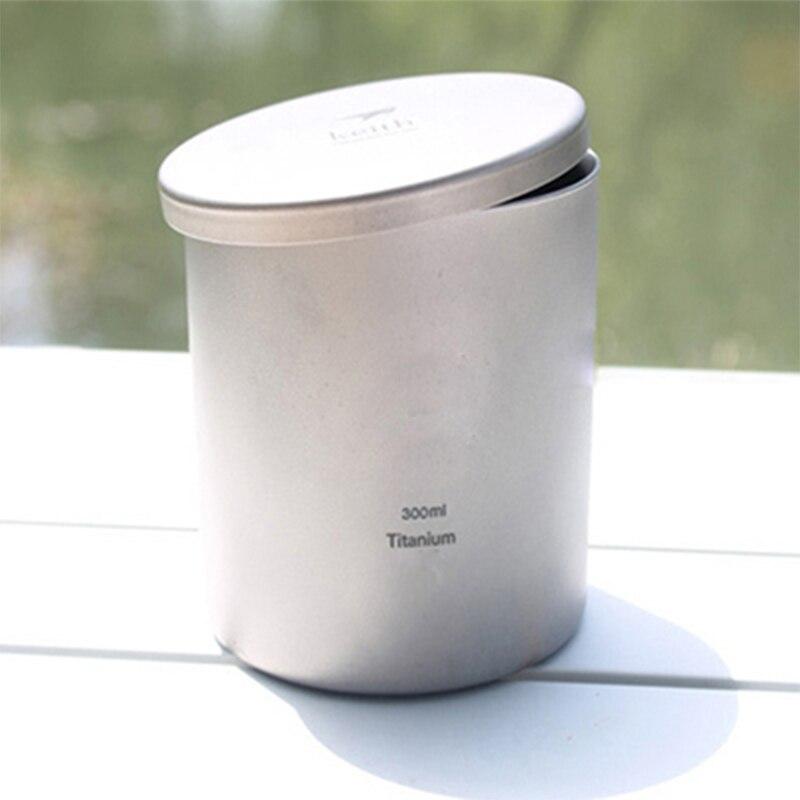 Keith 300 ml tasses titane Double paroi tasse avec couvercle verre d'eau isolé tasses pour Camping pique-nique randonnée Caneca tasse à café Ti81