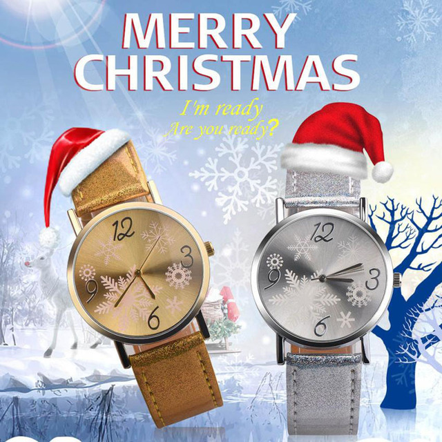 Christmas Watches Relogio Feminino Fashion Leather Quartz Analog Women Watch Cas