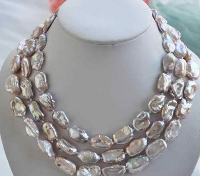 ジュエリー真珠のネックレスホット販売>> 3row 20 ミリメートルラベンダーのバロックケシ REBORN 琵琶真珠のネックレス送料無料