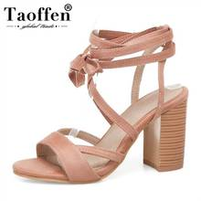 TAOFFEN Plus Size 32-50 Roman Style Cross Strap Sexy Women Sandals Dating Party Club Simple Shoes Stylish Spring