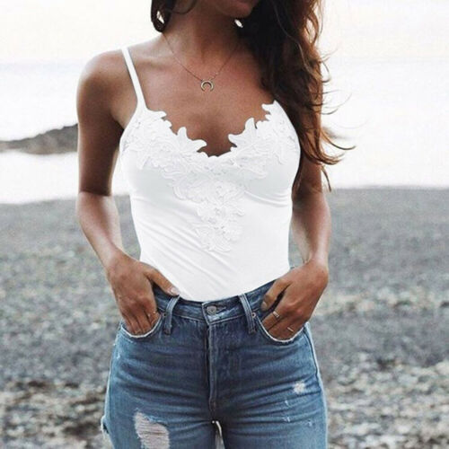 2019 Women Summer Sleeveless V neck Vest Sexy Tank Tops Woman Sleeveless Cami Strappy Slim Fit Top Female Solid Color Streetwear