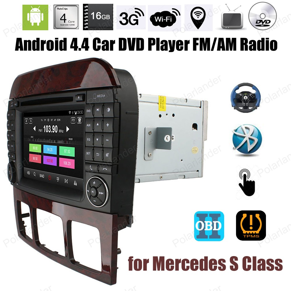 Android4.4 Car DVD Quad Core touch screen radio For M/ercedes S Class Support BT 3G WiFi Mirror Link DTV DAB TPMS OBDII GPS