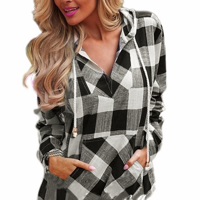 1f45f0e0af9 Lisli Plaid Hooded Tops Women Autumn Clothes V-Neck Sexy For Women Clothing  Long Sleeve Europen Fashion Pullovers 01C0458