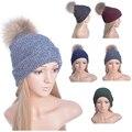 Knitting Wool Winter Women Girl' Real Natural Fur PomPom Hats Winter Warm Solid Caps Female Beanies Cap Elegant Fur Ball ski Hat