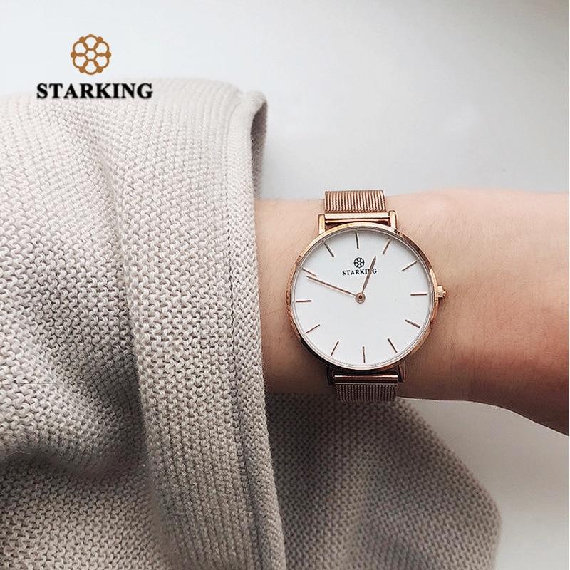 STARKING Luxurious Ladies Watch DW Style Minimalist Watch Steel Women Wristwatches Quartz Relogio Feminino Rose Gold 2018 3ATM lg watch style w270 rose gold