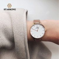 STARKING Luxurious Ladies Watch DW Style Minimalist Watch Steel Women Wristwatches Quartz Relogio Feminino Rose Gold 2018 3ATM