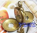 wholesale Nice Copper Double Cover Tourbilon Pocket Watch 4 Colleting freeship