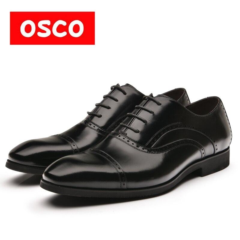 OSCO Usine directe Nouvelle Arrivée Top Quality Business Casual En Cuir manShoes MenOxfords Classique Robe De Mariage Chaussures # RU0006