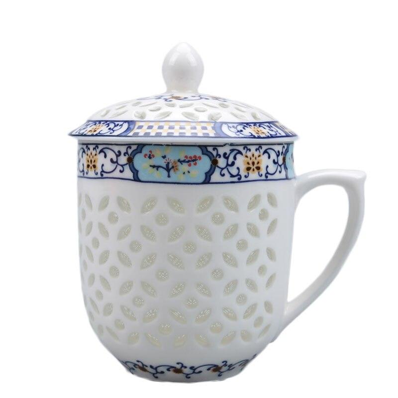 Exquisite 300ml Jingdezhen Hollow Honeycomb Glass Ceramic Porcelain