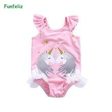Funfeliz/купальный костюм с единорогом; От 1 до 8 лет для девочек; цельный купальник для маленьких девочек; милый детский купальный костюм с лебедем; детская юбка; купальный костюм