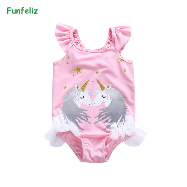 01c8804d12 Funfeliz Unicorn Swimwear Girls 1-8Y Toddler Girl One Piece Swimsuit Cute  Swan Kids Swimming Suit Children Skirt Bathing Suit