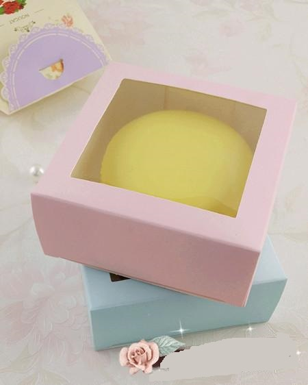 Us 477 100 X Square Pure Pink Blue Cookie Box With Window Single Cheese Cake Gift Boxes Wholesale In Gift Bags Wrapping Supplies From Home