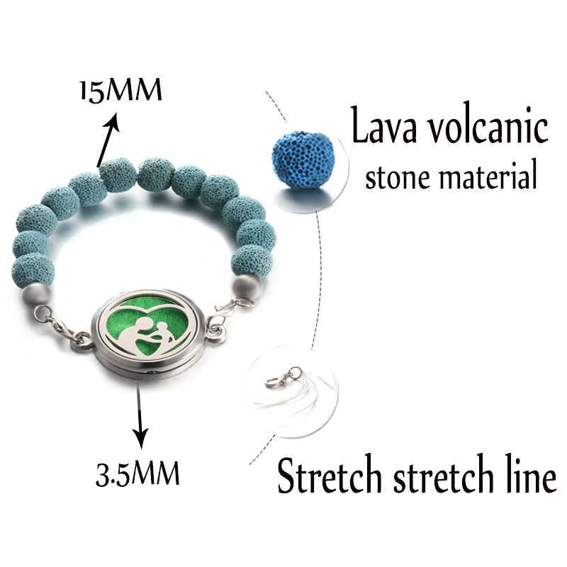 10MM חרוז צמידי וולקני אבן נירוסטה חיוני שמן דיפוזיה ארומתרפיה תיבת צמידי רייקי אבנים חרוזים תכשיטים