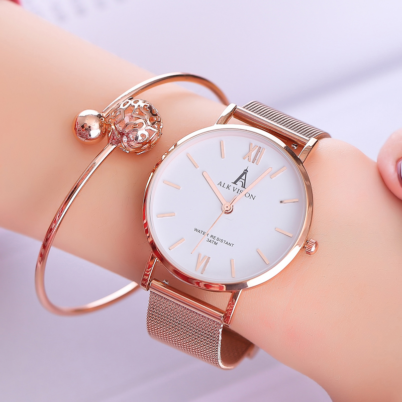 ALK lady watches 2018 luxury women ladies watch bracelet rose gold female dress wrist watch brand quartz wristwatch dropshipping bs brand women luxury fashion rhinestone watches lady shining dress watch square bracelet wristwatch ladies diamond quartz watch