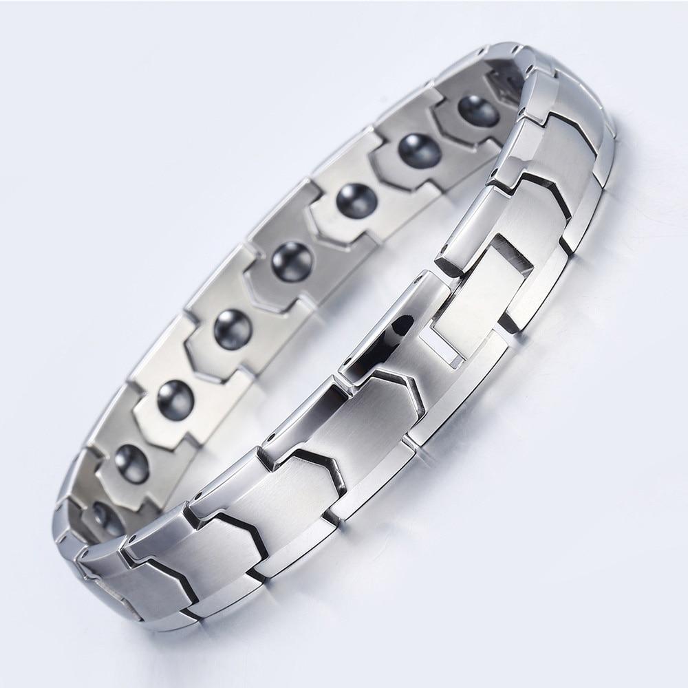 Bracelet de guérison réglable et Bracelets en acier inoxydable chaîne à main Bracelets en Germanium magnétique pour hommes bijoux pour hommes 2019