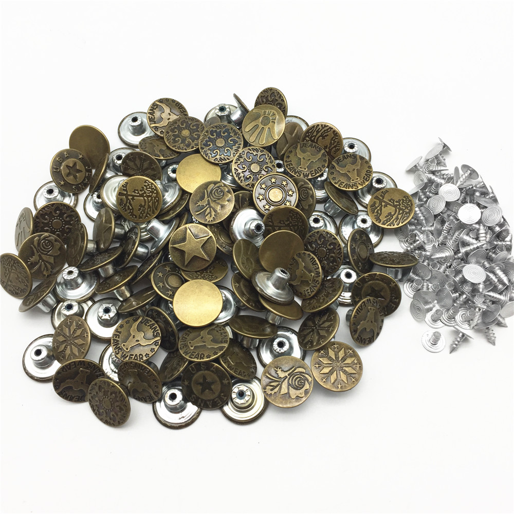1000sets lot 17mm Mixed Metal Antique Brass Round Jeans Buttons For Garment Jean Sewing Accessories