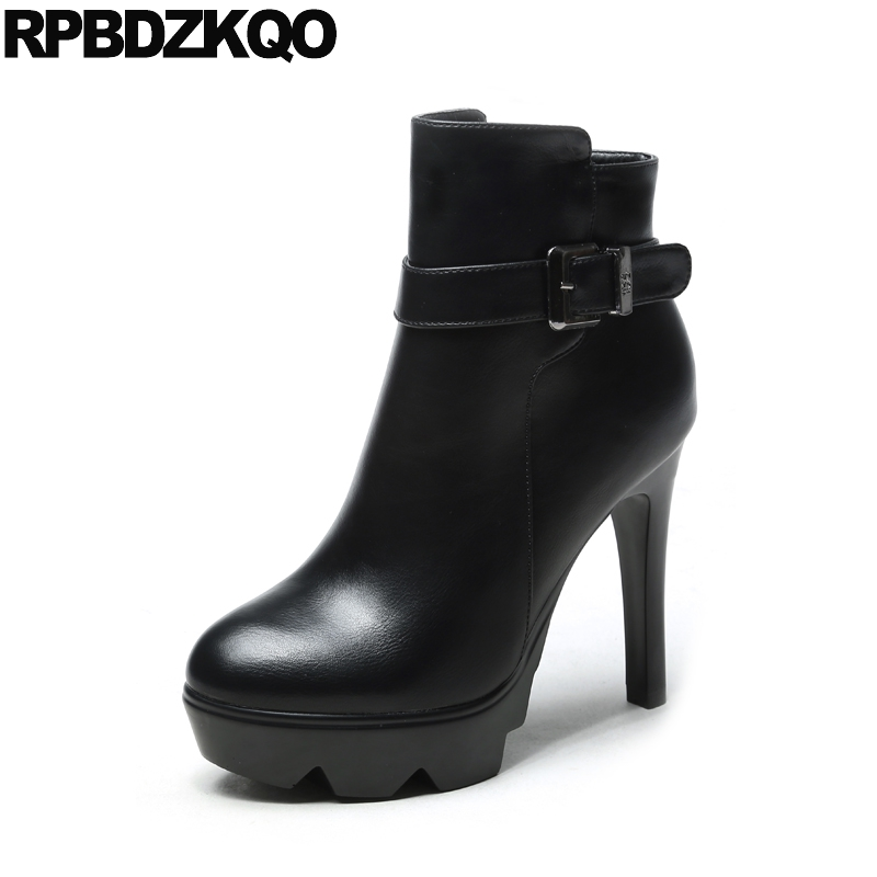 Black <font><b>High</b></font> <font><b>Heel</b></font> Winter <font><b>Fetish</b></font> Embellished Women <font><b>Boots</b></font> 2017 Fashion Fur <font><b>Sexy</b></font> Round Toe Platform Size 34 Ankle Stiletto <font><b>Extreme</b></font> image
