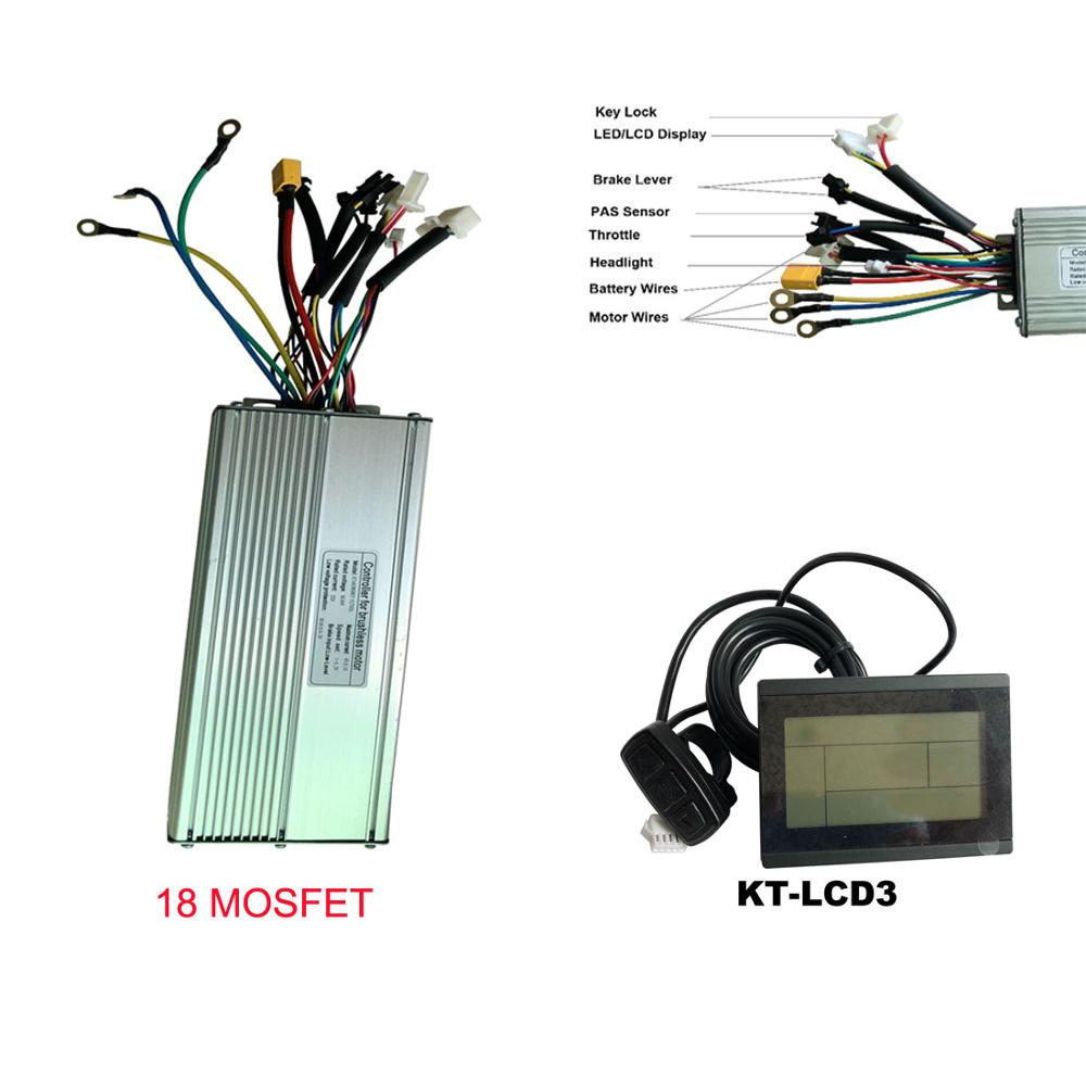 Ebike Controller 18 Mosfet Dual Mode Brushless 48V 1500W 2000W Bluethooth 45A
