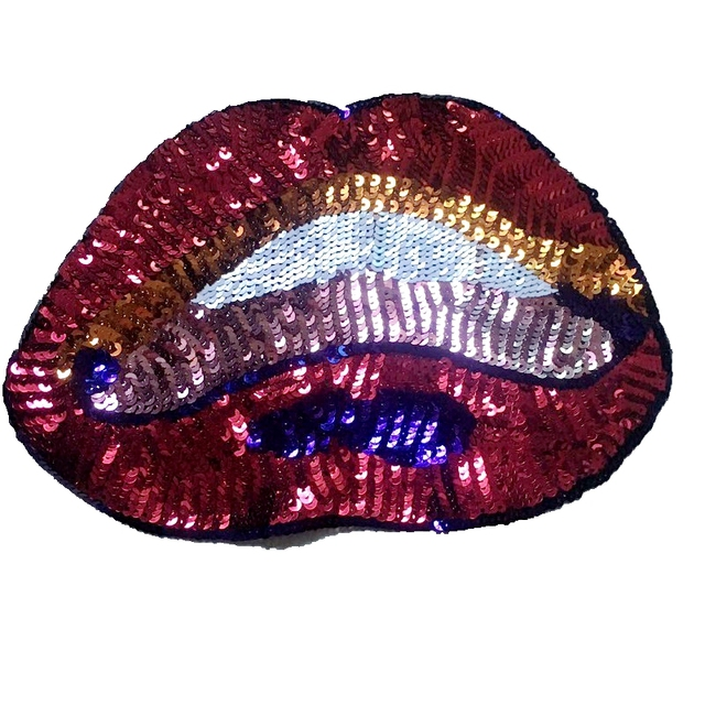 2PCS Colorful Sequins Lips Patches Embrioderey Sticker Sewing Patch for Clothes Bags 18x27cm DIY Garment Accessories Patchwork