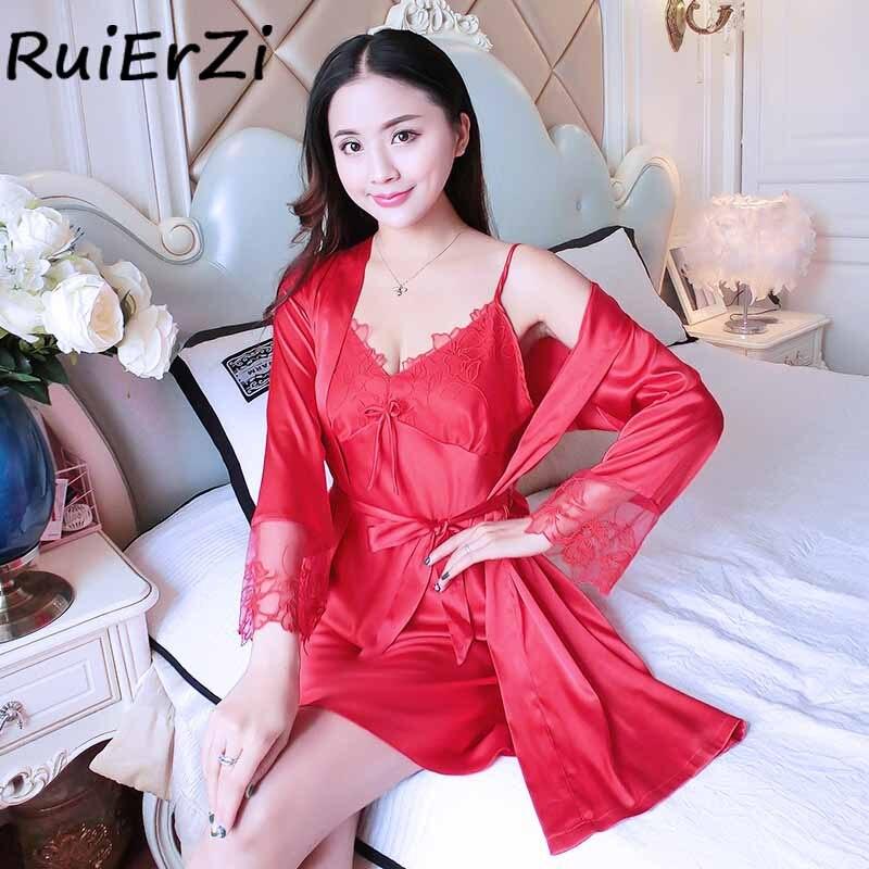 New Arrival Silk Robe & Gowns Set Mini Nightwear Sexy Lace Patchwork Belt Two Piece Sleepwear + Bathing Robe Twinset