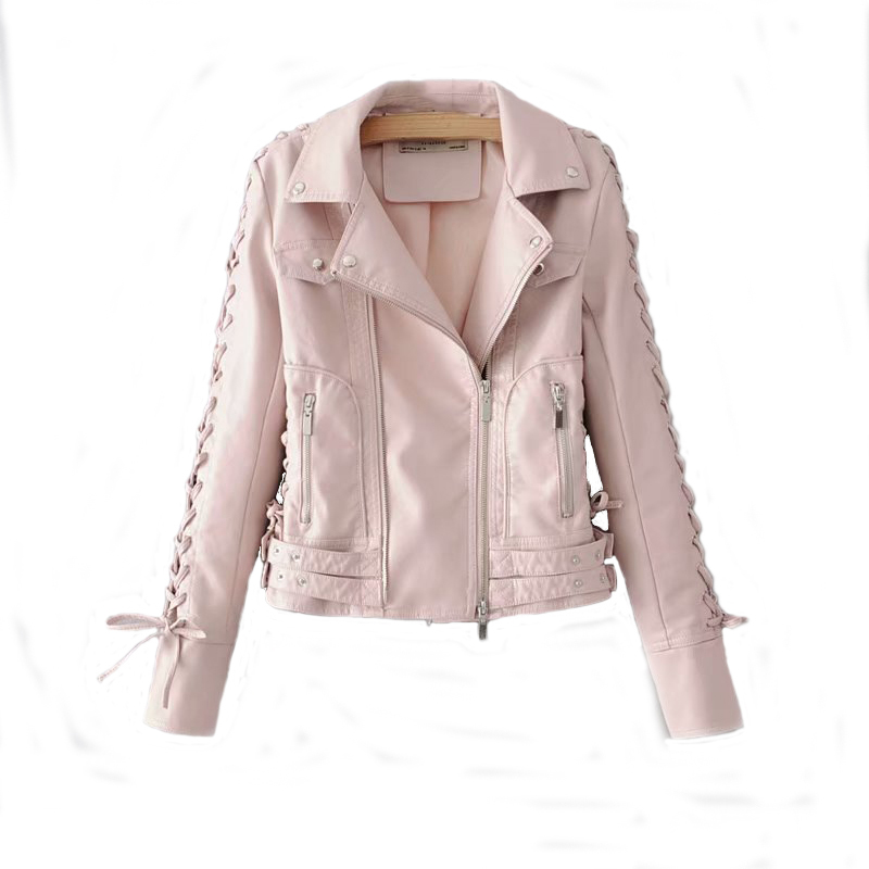 Pink Women PU   Leather   Jackets 2019 Spring-Autumn Chic Ladies Bandage Bow Bomber Coats Street Girls Cool Slim Outfits Outerwear