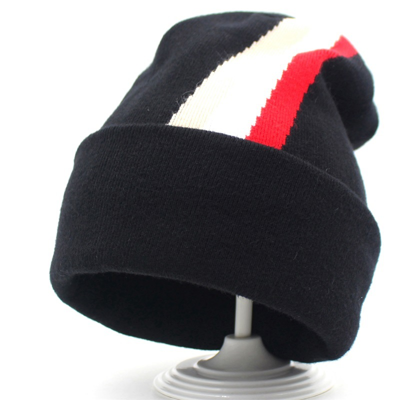 Beanie Women Men Winter Knit Hat Headwear Cashmere Warm Soft Stripe Casual Slouch Stretchy Outdoor Ski Accessory in Men 39 s Skullies amp Beanies from Apparel Accessories