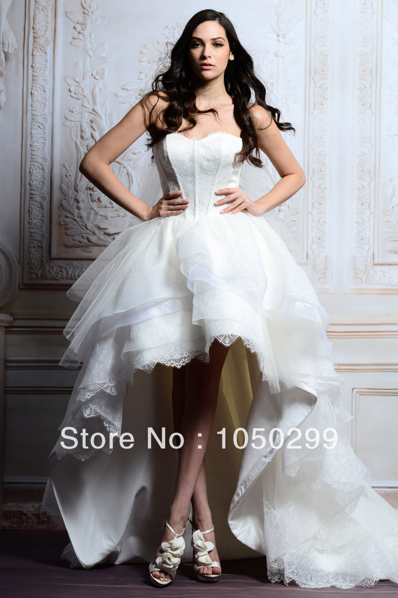 2017 Whole Sweetheart Neckline Low Back Puffy Tiered Lace Organza Designer Bridal Dress Corset High Wedding Gowns In Dresses From