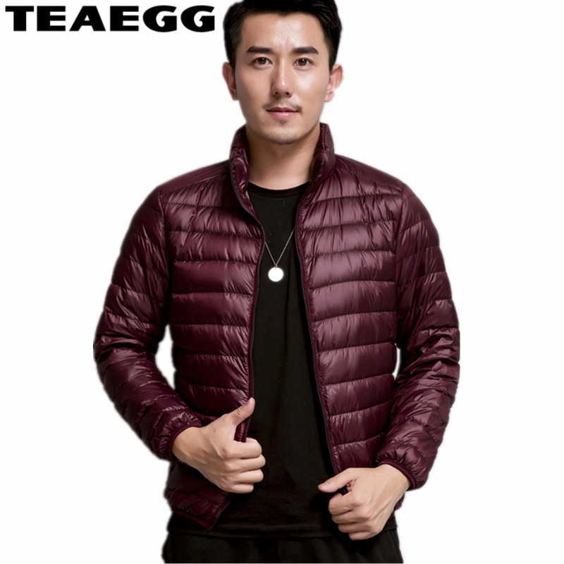 TEAEGG Thin White Duck Down Jacket Men Autumn Winter Warm Coat Mens Ultralight Duck Down Jacket Coat Male Windproof Parka AL107