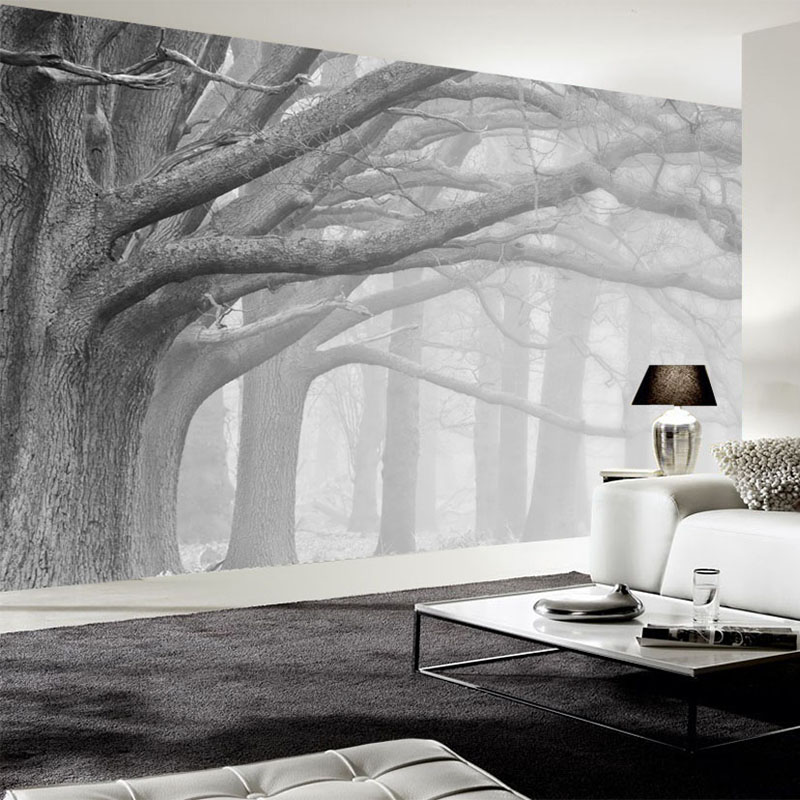 White Mural Black Tree Wall Wallpaper And