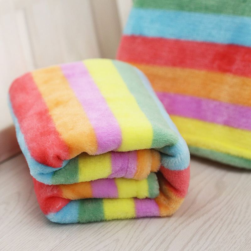 Soft Flannel Pet Dog Blanket Cute Rainbow Print Dog Cat Bed Mat Dog Cat Air Condition Cover Cushion For Small And Medium Dogs
