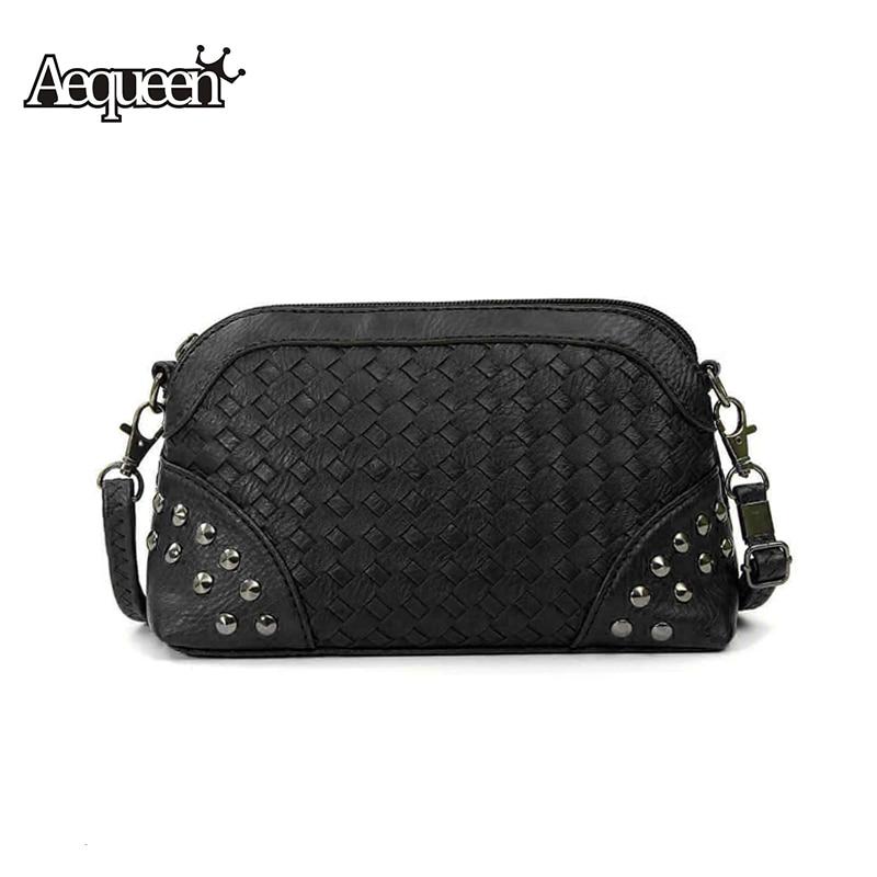 2016 New Women Rivet Quilting Shoulder Bag Female Handbag Zipper Casual  PU Leather Small Ladies Messenger Bag Detachable Strap