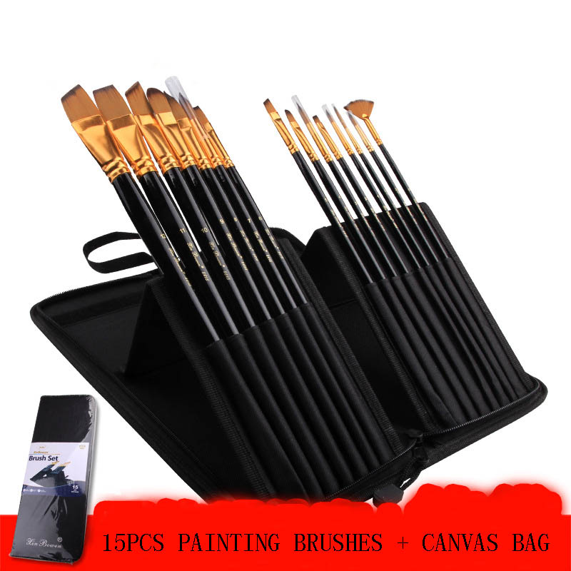 15pcs/set Nylon Painting Brush for Oil Watercolor Acrylic Paint Brush Artist Painting Brush Set Art Craft solabela montreal artist brush set of 24 w canvas roll up pouch professional art brush set acrylic oil water color paint set