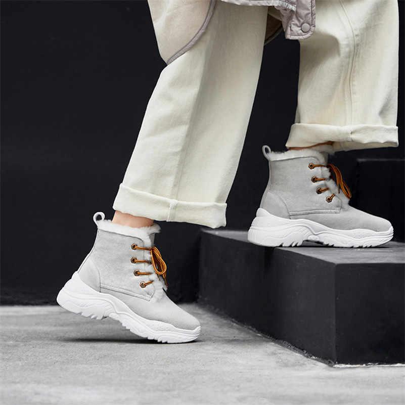FEDONAS/Новинка; женские ботильоны из высококачественной коровьей замши; осенне-зимние теплые ботинки на танкетке и высоком каблуке; короткие базовые ботинки