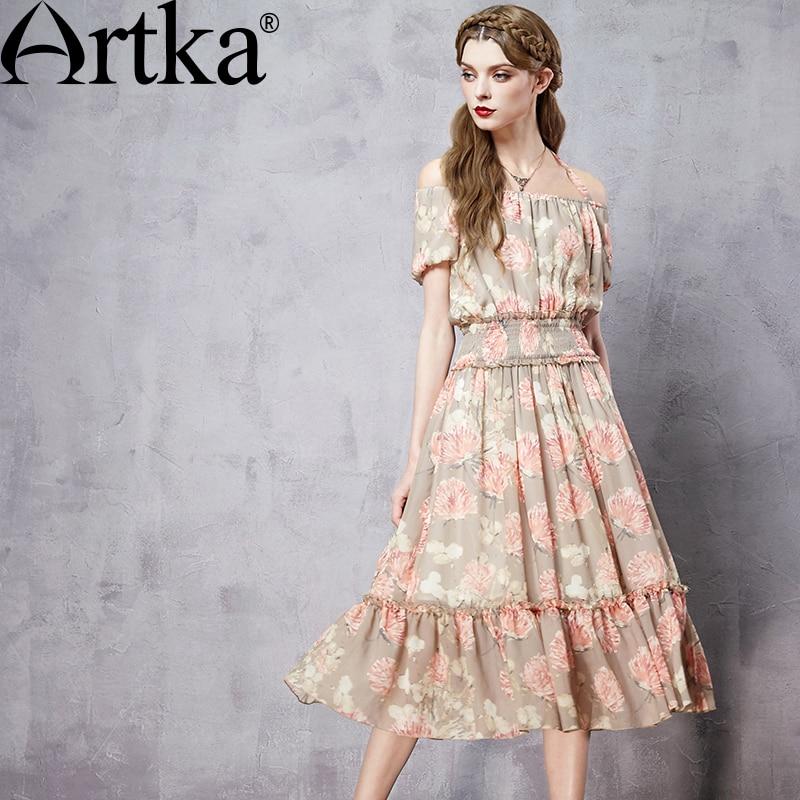 Artka Women s Autumn New Printed Chiffon Dress Vintage Slash Neck Off Shoulder Sleeve Cinchec Waist