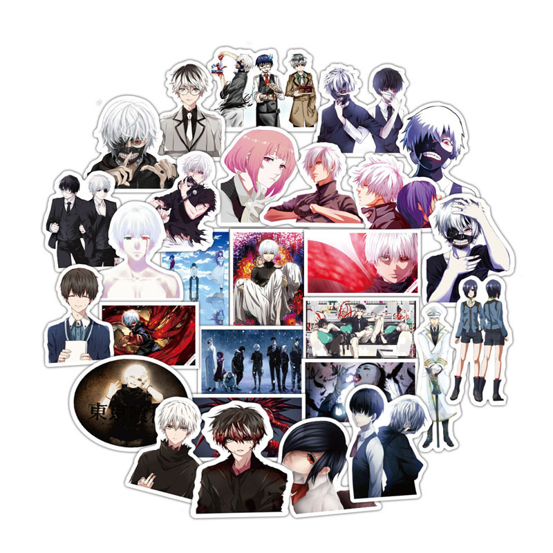TD ZW 50 Pcs/lot Classic Anime Tokyo Ghoul Stickers Cartoon Figure Graffiti Decoration For Laptop Skateboard Computer Sticker