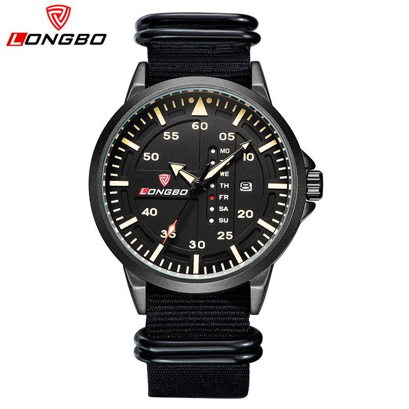 LONGBO Brand New Fashion Men Wristwatches Casual Nylon Band Quartz Watches Analoge Sport Watch Date Calendar Masculino Esportivo