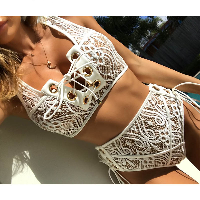 Black White Lace High Waist Swimsuit Bikini Set 2017 Sexy Solid Bikinis Women Push Up Swimwear Banting Suit Swim lace up plain bikini set