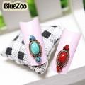 BlueZoo 10 unids/pack Rojo Verde Piedra Rhinestone Decoración Joyería Del Diamante 3D Del Clavo de la Aleación Del Perno Prisionero Retro Maquillaje Nail Art Tips 18mm * 5mm