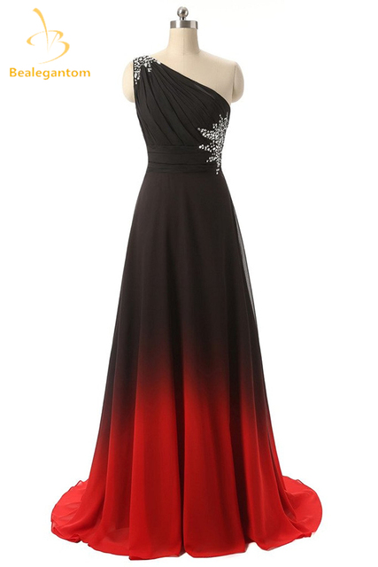 Bealegantom Sexy Gradient Long Evening Dresses 2018 With One Shoulder Lace Up Formal Prom Party Gown Vestido Longo QA1094